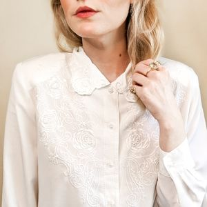 80s White Embroidered Button Down Vintage Blouse